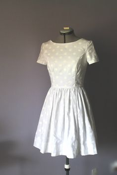 White polka dot wedding dress, casual bride, cotton wedding dress, bridesmaid's dress. by hiddenroom