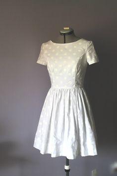 White polka dot wedding dress, casual bride, cotton wedding dress, bridesmaid's dress. by hiddenroom