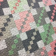 """Beautiful new quilt up in the shop made from Lella Boutique's """"Farmer's Daughter"""" Collection Pattern is A Straight Path by Sweet Jane and the fabulous quilting as always by Wildwood Quilting! . . . #lellaboutique #farmersdaughter #showmethemoda #sweetjane #astraightpath #wildwoodquilting #quilt #quilting #sew #sewing #quiltkit #localquiltshop"""