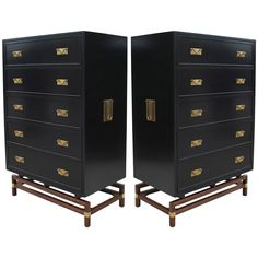 Impeccable Pair of Twin Black Lacquer and Brass Campaign Chests | From a unique collection of antique and modern dressers at https://www.1stdibs.com/furniture/storage-case-pieces/dressers/