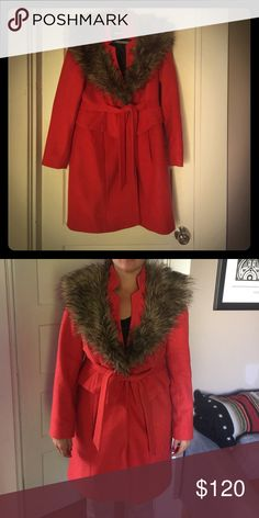 Plenty by Tracy Reese coat This beautiful rusty orange Tracy Reese coat purchased at Anthropologie is the perfect addition to your fall wardrobe. The faux fur collar is incredible chic and also warm! Worn 2-3 times total. Plenty by Tracy Reese Jackets & Coats