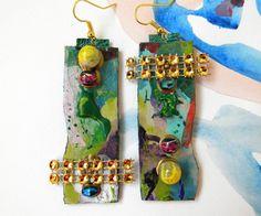 Abstract Earrings Paper Earrings Paper Art Hand by Elyseeart