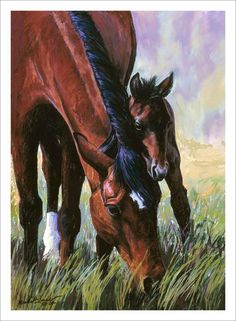 Peek-A-Boo!  Painting/Equine Artwork Horses/Mare and Foal Painting  www.marshamcdonald.com
