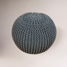 Charcoal Knitted Pouf- Couple of these for seats/foot rest in game room- OOo or video game seats :)