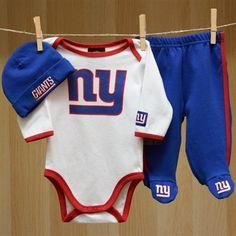 NY Giants Baby Bodysuit Pants Cap