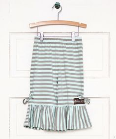 Look what I found on #zulily! Gray Stripe Lined With Love Ruffle Pants - Infant & Girls by Matilda Jane Clothing #zulilyfinds