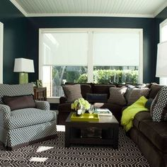 Love the color palette. Navy Blue, Lime Green, & Chocolate Brown.