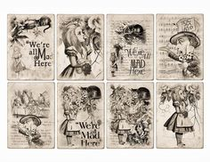 free collage sheets to print | Free Alice In Wonderland ATC Tags Background Digital Collage Sheet ...