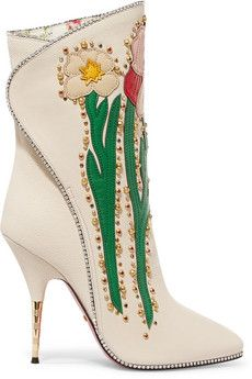 274f5f912dc1 Gucci - Fosca appliquéd embellished textured-leather ankle boots Cute Ankle  Boots