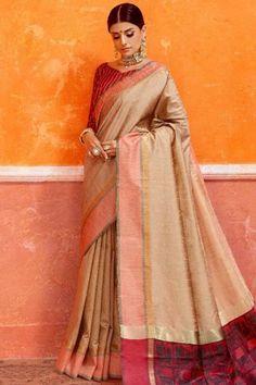 d753bf64bfde82 Buy Saree Shops Beige Khadi Silk Sari for Diwali Sweet Heart Neck Online -
