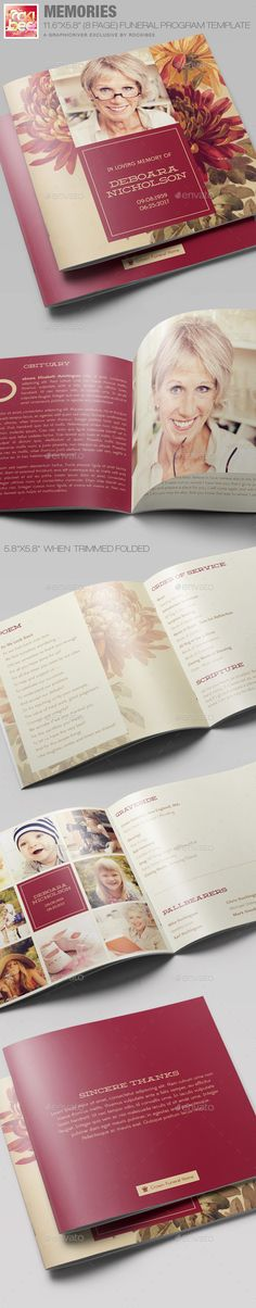 Buy Memories Funeral Program Template by Rockibee on GraphicRiver. Memories Funeral Program Template is great for any memorial or funeral event. Event Planning Template, Event Planning Checklist, Event Planning Business, Program Template, Brochure Template, Memorial Cards, Funeral Memorial, Funeral Order Of Service, Funeral Planning