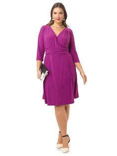 9b7a5000944 Dominique Dress In Magenta by  IGIGI Available in sizes 12-32 Faux Wrap  Dress