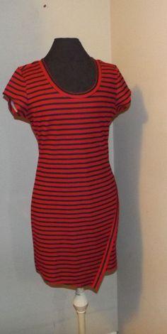 No Bo red black striped nautical knee length dress xxl 19 casual cruise wear  #NoBoundaries #dress #Casual