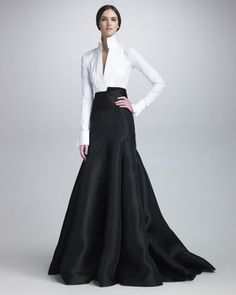 Donna Karan Stretch Taffeta Bodysuit, Long Gazar Evening Skirt & Satin Cummerbund Belt - Neiman Marcus