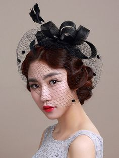 06a7bf98 Milanoo / Royal Wedding Fascinator Headband Black Birdcage Veil Feather  Bridal Headpieces