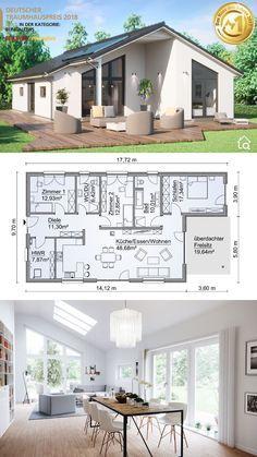 Bungalow Haus Design, Modern Bungalow House, Bungalow House Plans, Bungalow Exterior, Small House Floor Plans, Dream House Plans, Modern House Plans, Roof Architecture, Modern Architecture House