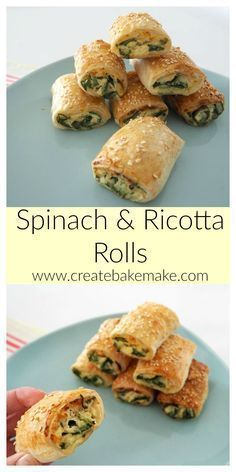 These Spinach and Ricotta Rolls make the perfect easy snack or dinner and best of all they are freezer friendly. Both Conventional and Thermomix instructions included. snacks for dinner Easy Spinach and Ricotta Rolls Savory Snacks, Easy Snacks, Savoury Tart Recipes, Savoury Tarts, Savory Foods, Homemade Sausage Rolls, Healthy Sausage Rolls, Homemade Breads, Vegetarian Recipes