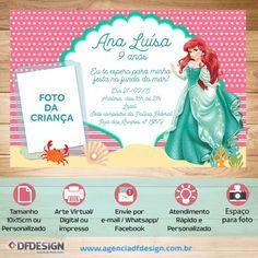 Convite Tema Festa Ariel Virtual /Digital customizado com foto e os dados da festa. #apequenasereia #convitearielpersonalizado #decoracaoapequenasereia
