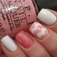 Coral and Cream White Nail Design with Chevron Patterns.