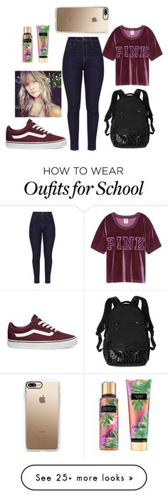 """""""Back to school"""" by sparklediona on Polyvore featuring Victoria's Secret, Vans and Casetify"""