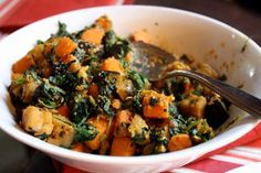 "Pumpkin & Sweet Potato Ayurvedic ""Subji"". -  Subji, also known as Subzi, Subzee, Subjee, Sabji, Sabzi, + Sabzee, is an Indian vegetable dish. It can be wet, dry, or in a curry form. This one was spiced with Mustard Seeds, Cumin Seeds, Fresh Ginger, Curry Leaves + Tumeric. Finished off with a little spinach, lemon juice + coriander"
