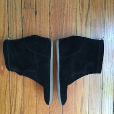 SUNDAY PRICE ✂️DV Black Wedge Booties Pre-loved with small signs of wear. Black suede wedge booties with rubber sole and zipper down back. Size 10 (I'm a 9.5-10 and these are slightly loose on me, though still wearable). Currently marked down from $29 DV by Dolce Vita Shoes Ankle Boots & Booties