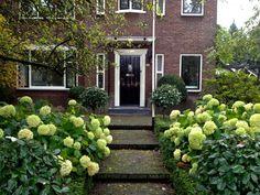 In deze voortuin is alles relatief symmetrisch opgezet. Overigens ook hele mooie hortensia's!
