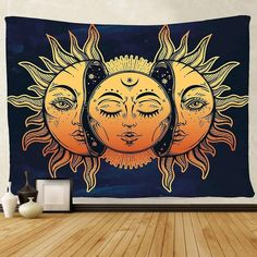 Large Tarot Tapestry Wall Hanging Sun Moon Star Tapestry Psychedelic Wall Tapestry Black and White Mystic Mandala Tapestry for Bedroom 200 x 150cm//79 x 59