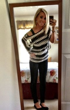 Black jeggings and a sweater