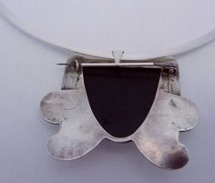 Vintage-Taxco-Mexico-Mexican-Sterling-Silver-Obsidian-Pin-Pendant-Necklace-21708