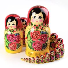 20 pc. Traditional Red Roses Matryoshka Item # ND00300A20