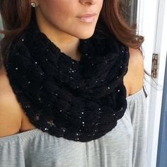 "$20 SALEBlack ""GLAM INFINITY SCARF"" Perfect cold weather accessory with a little glam!! Great for gift giving as well. Black. New in packaging.  ✨Please read entire description✨ ✨Please ask any questions prior to purchasing✨ ✨ Discounts On Bundles ✨ CupofTeaBoutique Accessories Scarves & Wraps"