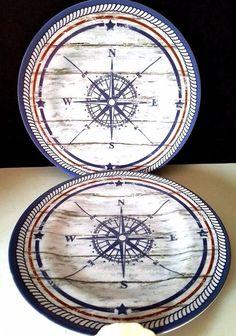 Coastal Compass Melamine Plates Set 4 Side Salad Dessert #Nantucket  sc 1 st  Pinterest & Compass Rose Nautical Melamine Plates Set of 4 Beach Cottage Dining ...
