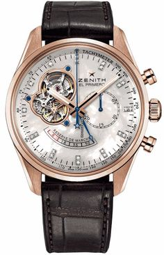 Zenith Chronomaster Open Power Reserve Mother Of Pearl Dial Brown Leather Mens Watch $16,380 - rose gold case with crocodile skin bracelet and automatic movement