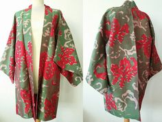 green & red silk ikat Kimono jacket /flower motif Antique Long Haori /vintage /Japanese Meisen silk/ funny lining,alphabet,animal /monstrera