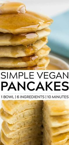 vegan pancakes with only 6 ingredients, 1 bowl and 10 minutes. So fluffy, light and perfect for weekend breakfasts!Simple vegan pancakes with only 6 ingredients, 1 bowl and 10 minutes. So fluffy, light and perfect for weekend breakfasts! Vegan Pancake Recipes, Vegan Foods, Vegan Dishes, Vegan Desserts, Best Vegan Pancakes, Vegan Recipes With Flour, Vegan Snacks, Vegan Recipes Simple, Simple Pancake Recipe