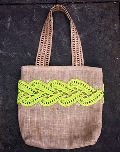 Burlap Tote Large Bag Unique Handmade Lined by DesignsbyPolina