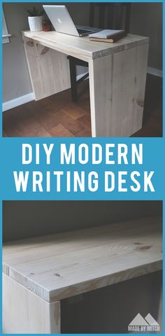 diy desk Learn to make a Modern looking Writing Desk. This is a great looking and simple DIY desk that you can build. This will take you step by step on how to build this DIY Writing Desk. Woodworking Furniture, Diy Woodworking, Diy Furniture, Woodworking Magazine, Woodworking Classes, Woodworking Patterns, Furniture Movers, Outdoor Furniture, Woodworking Videos