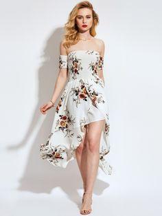 White Slash Neck Double-Layered Women's Maxi Dress