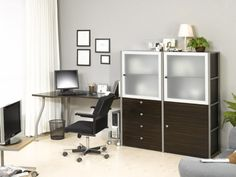 Wonderful Home Office Ideas For Men: Amazing Modern Minimalist Gray Home  Office Ideas For Men