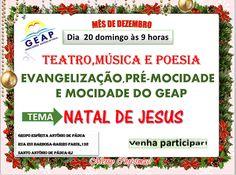 GEAP Convida para a apresentação de Teatro, Música e Poesia – Santo Antônio de Pádua – RJ - http://www.agendaespiritabrasil.com.br/2015/12/19/18015/