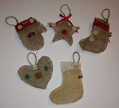 5 Burlap christmas ornaments handmade by LukasBradinTreasures, $25.00