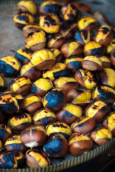 Grilled Chestnuts - Street Food, Istanbul, Turkey.