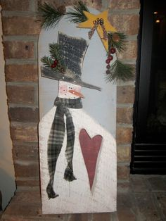 Country Primitive Hanging Wood Heart Snowman by LnMPrimitives