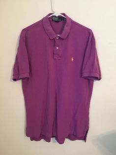 Mens POLO Ralph Lauren Purple Shirt Large Cotton Yellow Pony Rugby Short Sleeve #PolobyRalphLauren #PoloRugby