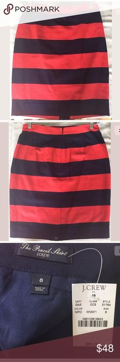 J Crew Rugby Pencil Skirt in Navy and Red - Sz 8 Adorable rugby striped skirt in navy and red from J Crew.  Cotton blend for a lighter feel.  Could be dressed up or worn casually.  Definitely a staple for any preppy closet!!! J. Crew Skirts Pencil