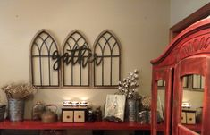 dinning room decorations Collect Wall Decor / Farmhouse / Collect Signal / Cathedral Arch / Church H Dinning Room Wall Decor, Farmhouse Wall Decor, Rustic Wall Decor, Rustic Walls, Farmhouse Windows, Dining Room, Arched Wall Decor, Faux Window, Church Windows