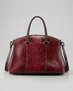 Trevi Python Zip Satchel Bag, Wine by VBH at Neiman Marcus. Really beautiful