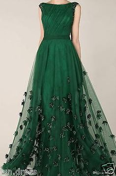 Hot Emerald Green Tulle Evening Dress Long Party Dress Formal Prom Dresses