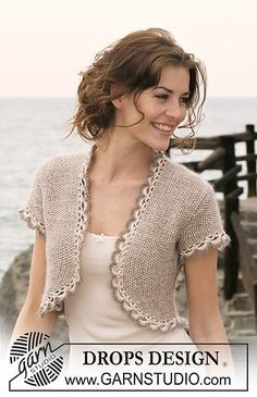 """Ravelry: 118-20 Bolero in seed st in """"Cotton Viscose"""" and """"Kid-Silk"""" with short sleeves and crochet borders pattern by DROPS design"""